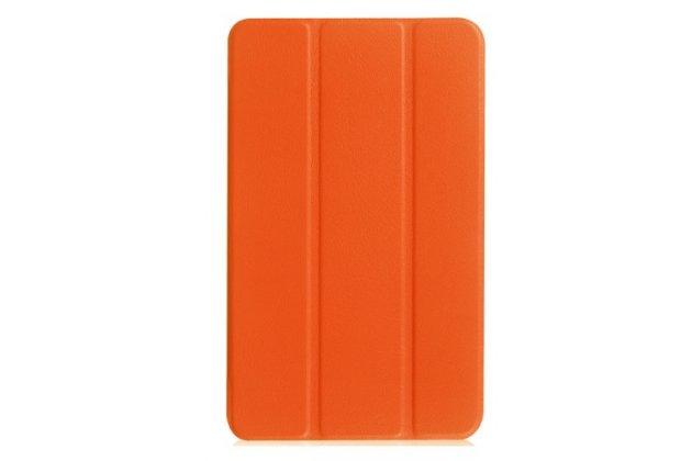 """Фирменный умный чехол самый тонкий в мире для планшета Acer Iconia One 8 B1-850-K0GL (NT.LC4EE.002) 8.0 """"Il Sottile"""" оранжевый кожаный"""