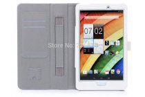 """Фирменный чехол бизнес класса для Acer Iconia Tab 8 A1-840/A1-841 FHD с визитницей и держателем для руки белый натуральная кожа """"Prestige"""" Италия"""