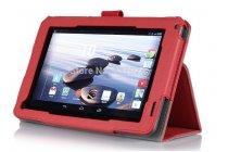 """Фирменный чехол бизнес класса для Acer Iconia Tab B1-720/B1-721 с визитницей и держателем для руки красный натуральная кожа """"Prestige"""" Италия"""