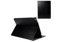"""Фирменный чехол открытого типа без рамки вокруг экрана с мульти-подставкой визитницей и держателем для руки для iPad Pro 12.9"""" черный натуральная кожа """"Deluxe"""" Италия"""