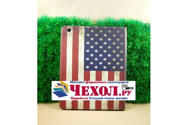 """Фирменный чехол для Apple iPad 2/3/4 """"тематика ретро флаг США"""""""