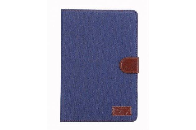 Чехол-обложка для iPad Mini синий из настоящей джинсы с кармашком для iPhone
