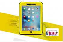 Неубиваемый водостойкий противоударный водонепроницаемый грязестойкий влагозащитный ударопрочный фирменный чехол-бампер для iPad Pro 9.7 цельно-металлический со стеклом Gorilla Glass желтый