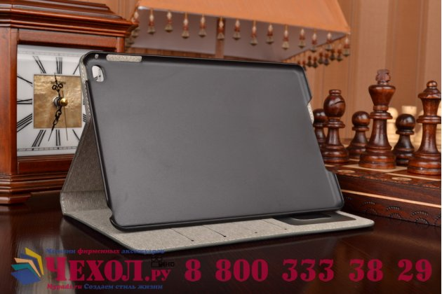 """Чехол-футляр для iPad Mini 4 """"тематика карта мира"""" кожаный серый"""