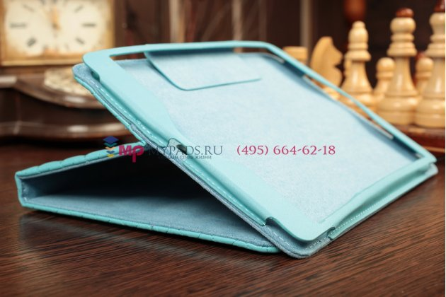 Сгёганая кожа в ромбик с узором чехол для iPad Air 1 бирюзовый