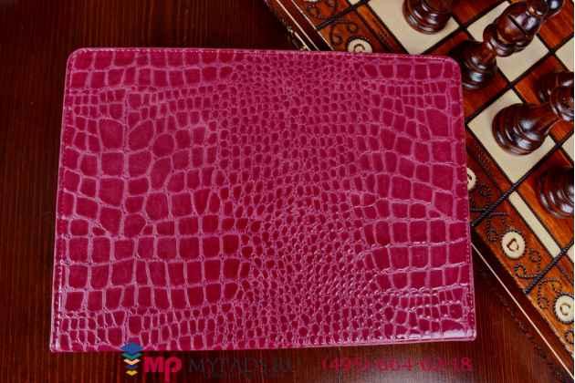 Фирменный чехол для iPad Air 2 кожа крокодила цвета фуксии малиновый