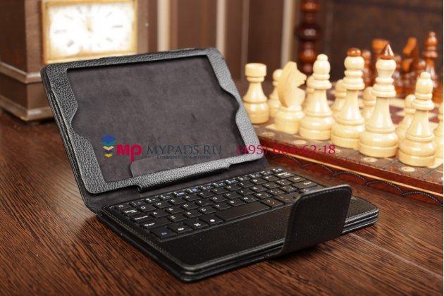 Фирменный чехол в комплекте с клавиатурой  для Apple iPad Mini /Mini 2 Retina/ Mini 3 черный кожаный + гарантия