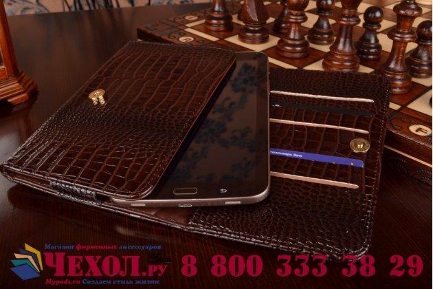Фирменный роскошный эксклюзивный чехол-клатч/портмоне/сумочка/кошелек из лаковой кожи крокодила для планшетов Acer Iconia Tab B1-750/B1-751. Только в нашем магазине. Количество ограничено.