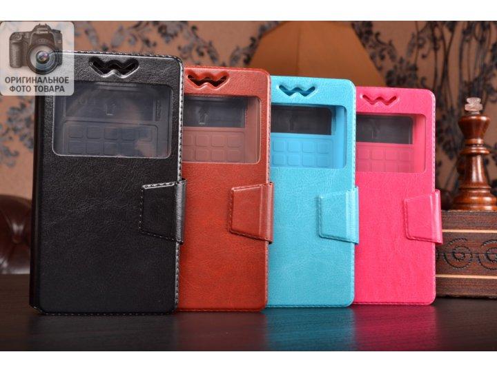 Чехол-книжка для Oppo Mirror 5 кожаный с окошком для вызовов и внутренним защитным силиконовым бампером. цвет ..