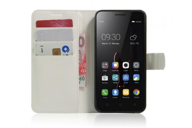"""Фирменный чехол-книжка из качественной импортной кожи с мульти-подставкой застёжкой и визитницей для Lenovo Vibe C (A2020 / A2020a40 Dual Sim ) 5.0"""" белый"""