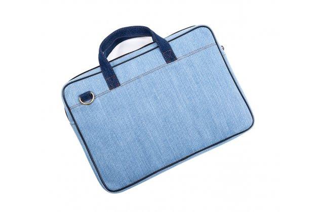 Чехол-сумка-бокс для Apple MacBook Air 13 Early 2015 ( MJVE2 / MJVG2) 13.3 / Apple MacBook Air 13 Early 2014( MD760 / MD761) 13.3 с отделением для дополнительных аксессуаров из настоящей джинсы голубой