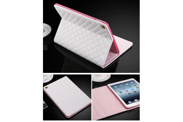 Стёганная кожа в ромбик с узором чехол-обложка для iPad Air 2 цвет белый кожаный
