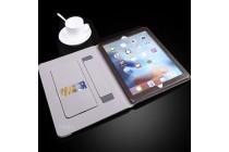 Фирменный чехол-обложка для iPad Air 2 с визитницей и держателем для руки из качественной импортной кожи коричневый