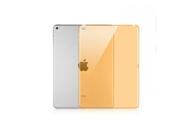 Фирменная ультра-тонкая полимерная задняя панель-чехол-накладка из силикона для iPad Pro 12.9 прозрачная желтая