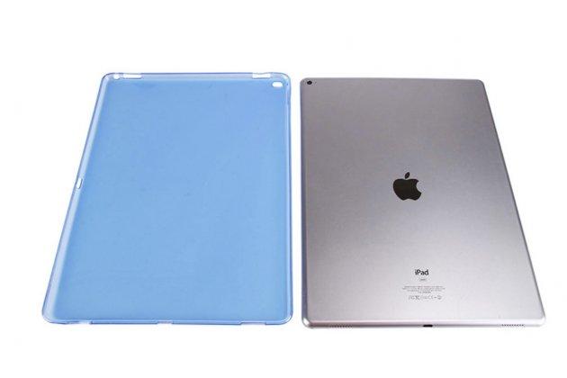 Фирменная ультра-тонкая полимерная задняя панель-чехол-накладка из силикона для iPad Pro 12.9 прозрачная синяя