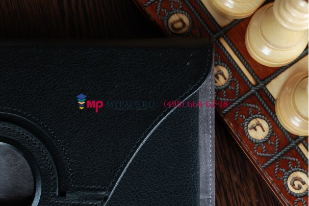 Фирменный оригинальный чехол для Acer Iconia Tab A210/A211 поворотный роторный оборотный черный кожаный