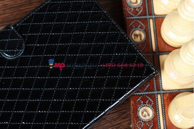 Стёганая кожа в ромбик чехол-обложка для iPad Mini черный кожаный