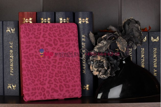 Фирменный чехол-обложка для iPad 2/3/4 леопардовый розовый кожаный